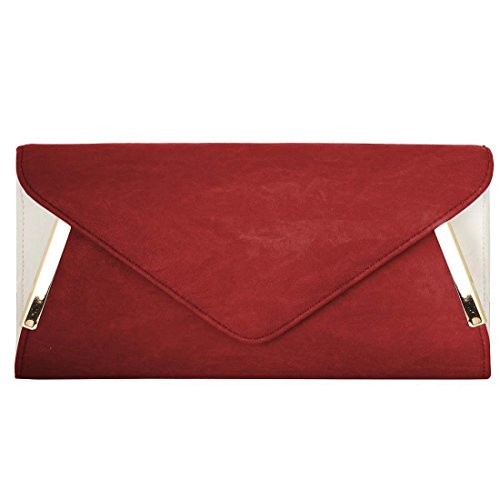 BMC Womens PU Leather Envelope Clutch Two Tone Evening Bag Crossbody Purse Handbag w/ Detachable Shoulder Chain - Spacious & Chic Formal Fashion - Red w/ White Accent (Handbag Red Chic)