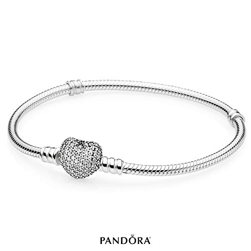 PANDORA - Moments Sparkling Heart Clasp Snake Chain Charm Bracelet in Sterling Silver with Clear Cubic Zirconia, 8.3 IN / 21 CM (Best Jewelers In The World)