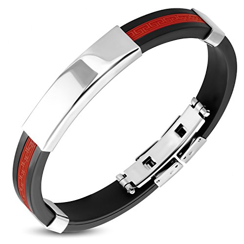 "Best Wing Jewelry ""Red Greek Key Pattern Stripe"" Stainless Steel /w Silicone Bracelet (23cm) from Best Wing Bracelets"
