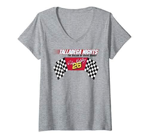 Womens Talladega Nights Ricky Bobby Racing Logo Flag V-Neck T-Shirt