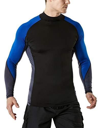 TSLA TM-MSR33-CBK_X-Large Men's UPF 50+ Long Sleeve Rashguard Surf Athletic Fit MSR33 ()