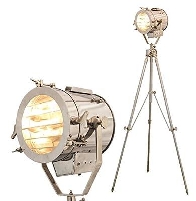 Brass Nautical Spot Light Steel Searchlight Studio Floor Lamp Tripod Chrome & Silver Finish