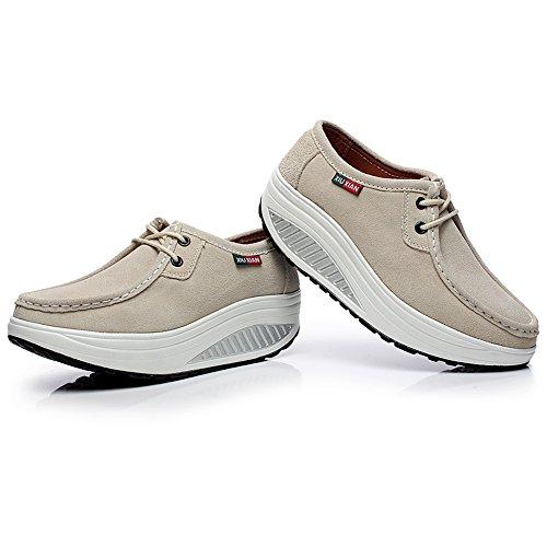 Piattaforma Cuneo Scamosciato Scarpe Donna Sneaker Shenn Comodo Addestratore Pelle Beige OqTHBOnZ