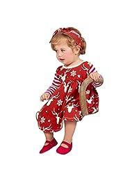 Perman Christmas 2PCS Girls Long Sleeve Deer Striped Princess Tutu Dress+Headband
