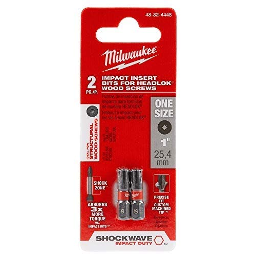 Milwaukee 48-32-4448 SHOCKWAVE Insert Bits for HeadLOK Wood Screws (2PK) (Screw Bit Wood Point)