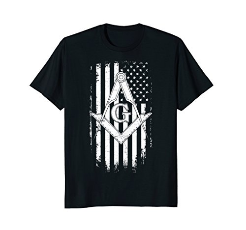 Mens Masonic American Flag Square and Compass - Freemason T-Shirt Large - American Flag Square