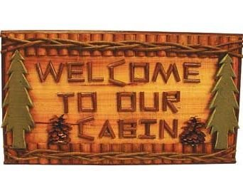 Cabin Log Plaques - Hand-Crafted Welcome To Our Cabin Welcome Sign Plaque With Green Pine Trees And A Natural Wood Log Twig Look (Made Of Wood) 18 by Decorative Rustic Wall Hanging Plaque And Sign
