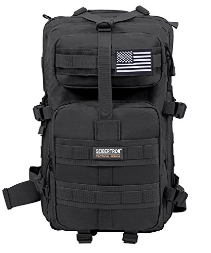 Seibertron Falcon Water Repellent Hiking Camping Backpack Compact Pack Summit Bag (Black 37L) -
