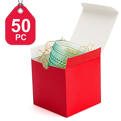 MESHA Gift Boxes 50 Pack 4x4x4 Inches, Red Paper Gift Boxes with Lids for Gifts, Crafting, Cupcake Boxes (Red Gift Boxes)