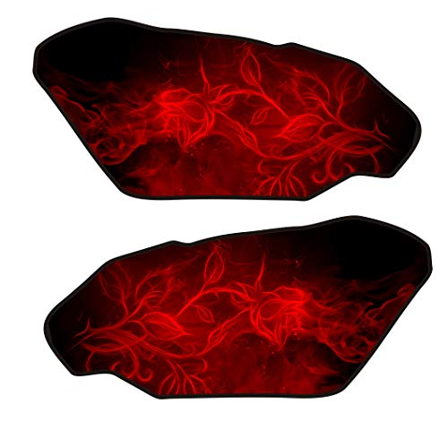 (Size is 4.4 in tall x 9.3 in wide Universal Flaming Fire Rose Flower red v2 3d Gel Motorcycle Gas Tankpad side)
