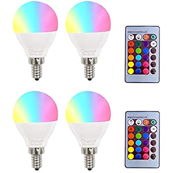 E12 4W RGB Magic LED Light Candelabra Bulb,4 Pack,16 Different Colors Changing Multi-Color LED Lamp with IR Remote Control for Home,Bar,Party,KTV, ...