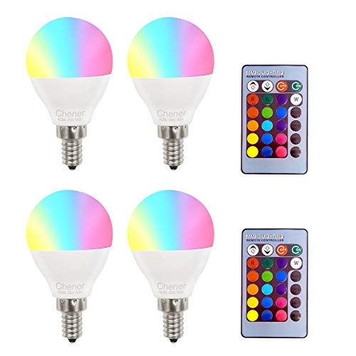 Light Three Candelabra - E12 4W RGB Magic LED Light Candelabra Bulb,4 Pack,16 Different Colors Changing Multi-Color LED Lamp with IR Remote Control for Home,Bar,Party,KTV, Mood Lighting,Chener