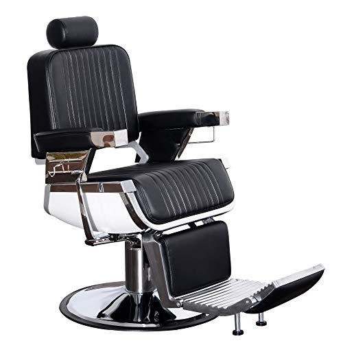 BarberPub Heavy Duty Vintage Barber Chair All Purpose Hydraulic Recline Salon Chair Beauty Spa Styling Equipment 2009 (Black)