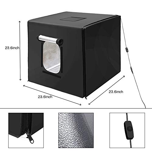 GVM Portable Photo Light Box, 24x24 inch/60x60 cm, Professional Photo Studio with LED Light, Foldable and Easy Set up Table Top Photo Lighting Studio, Photo Studio Kit for Photography by GVM (Image #4)