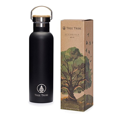 Tree Tribe Black Stainless Steel Water Bottle 20 oz - Indestructible, BPA Free, 100% Leak Proof, Eco Friendly, Double Wall Insulated Technology for Hot and Cold Drinks, Wide Mouth, Bamboo Cap Eco Friendly Water Bottles