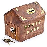 Ahşap El yapımı para bank-Şapka-Form, altın Farbendelphin kilit ile bozuk para, ahşap kumbara, çocuklar ve yetişkinler için güvenli Speichergeld–4x 4inç