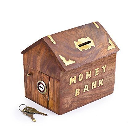WhopperIndia Handmade Wooden Money Storage Box, Piggy Bank, Toy Bank with Lock and Golden Dolphin Inlay for Kids and Adults 4 Inch
