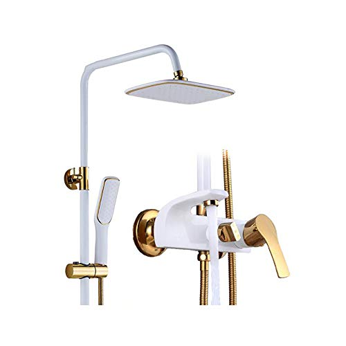 (HHQHHQ Bathroom Rain Mixer Shower Combo Set,Wall Mounted Rainfall Shower Head System Polished(Contain Shower Faucet Rough-in Valve Body and Trim))