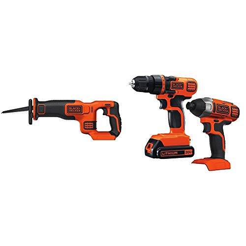 (BLACK+DECKER BDCR20B 20V Max Lithium Bare Reciprocating Saw with Black & Decker 20V MAX Drill/Driver Impact Combo Kit)