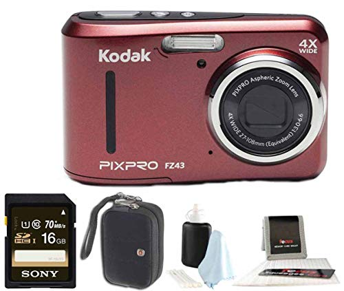 Kodak Digital Cameras Accessories - Kodak PIXPRO Friendly Zoom FZ43 (Red) + Sony 32GB Class 10 70MB/s SDHC + Case