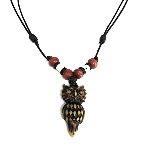 Medusa Costume Diy (Resin Owl Pendant Necklace - Lucky Owl Wood Beaded Necklace - Adjustable Black Cord (Brown))