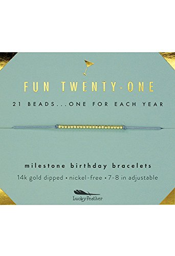 Lucky Feather 21st Birthday Gifts for Her - 14K Gold Dipped Beads Bracelet on Adjustable 7- 8 Cord - Perfect Turning 21 Birthday Gifts for Her