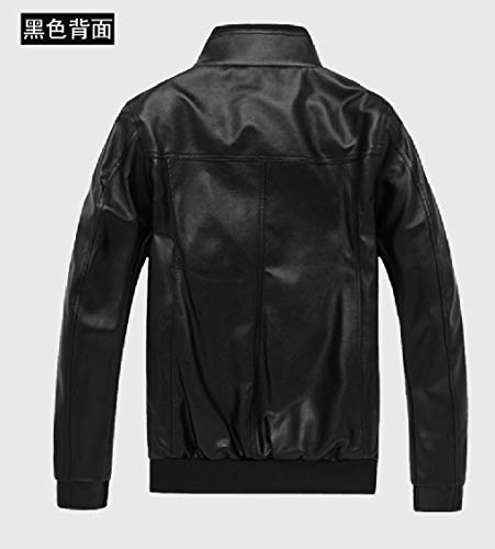 Solid PU Stand Thickening Fitted Motorcycle Outwear Biker Collar Zips 5 with EnergyMen dpwzqd