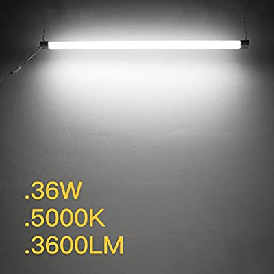 Amico 2 PACK 4ft 36W LED Utility Shop Lights, 3600lm 100W Equivalent, Double Integrated LED Fixture,ETL Ceiling Lights, Garage lights, Frosted