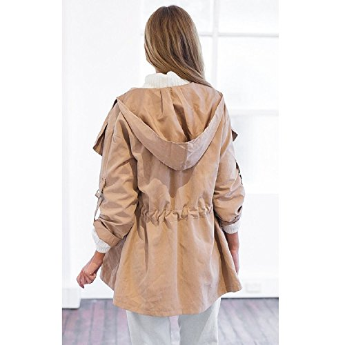 Minetom Manga mujer Coat para Gris Capucha Abrigo con Jacket Otoño Chaqueta Larga XpCqwXr