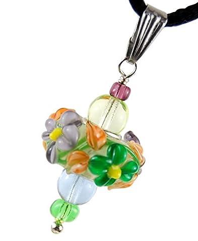 "Autumn Flowers – Purple & Green : Handmade Lampwork Murano Glass Pendant Lucky Charm 0.79"" (20mm) - Black Adjustable Necklace 20-24"", Stainless Steel - Green Murano Glass Pendant"