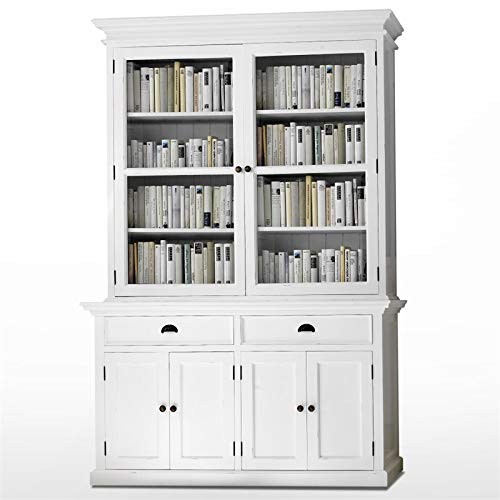 NovaSolo Halifax Pure White Mahogany Wood Glass Doors Hutch Buffet With Storage And 2 Drawers (Indonesia Shabby Furniture Chic)