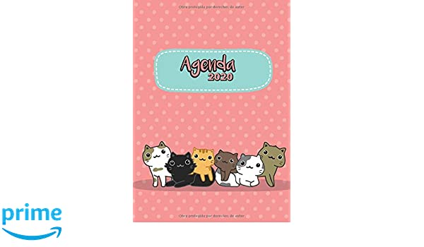 Agenda 2020: Tema Gatos Kawaii Rosa Agenda Mensual y Semanal ...