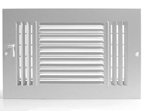 8 X 6 3-Way AIR Supply Grille - Vent Cover & Diffuser - Flat Stamped Face - White [Outer Dimensions: 9.75w X 7.75h]