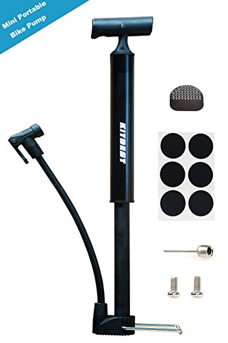 Kitbest Bike Pump, Aluminum Alloy Portable Bike Floor Pump, Mountain, Road, Hybrid & BMX Bike Tire Pump, Floor Bicycle Air Pump Compatible with Presta & Schrader Valve & Sports Ball (Black) (Tire Pump Bicycle)