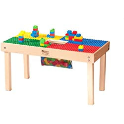 """HEAVY DUTY DUPLO COMPATIBLE TABLE with Built-in Lego Storage(patent)-32"""" x16""""-""""MADE IN USA!""""-""""PREASSEMBLED""""-Premium Series with Solid Hardwood Legs and Frames-AGES 1 TO 5"""