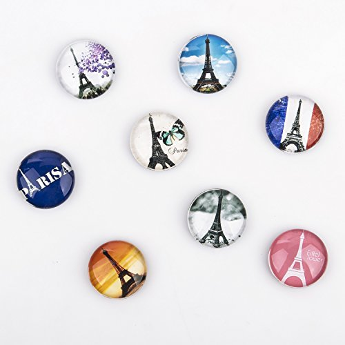 Tora Dola Hand-made Fridge Magnet, Crystal Glass French Paris Eiffel Tower, Home Decoration, Set of 8 (Paris Memo Board)