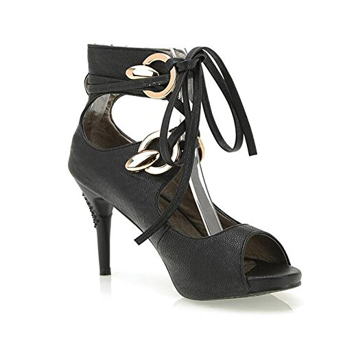 L'Europe en cuir pour femme Fish Mouth Le Frenulum Sandals Pompe étanche , black , 40