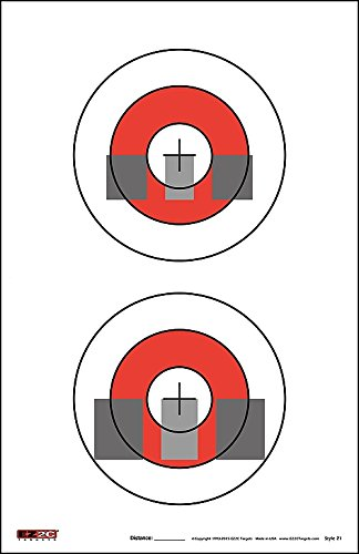 EZ2C Gun Sight Alignment Training and Diagnostic Paper Target, Firearm Sighting Correction Targets, for Pistols and Handguns, Outdoor Or Indoor Shooting Range, (25 Pack)