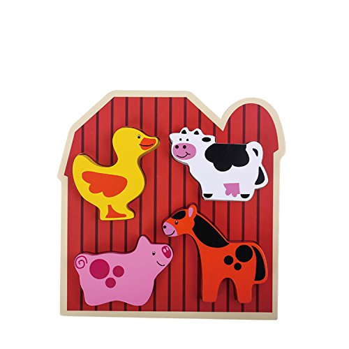 TookyToy Farm Animal Chunk Puzzles for Toddlers - Hardwood Plain & Colored Wood Blocks for Boys & Girls - Early Educational & Sensory Learning for 1, 2 & 3 Year Olds -4 (Wood Animal)