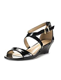 DREAM PAIRS Jones Women Crossover Thong Low Wedge Dress Pumps Sandals