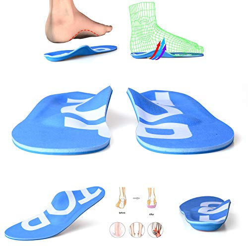 TOPSOLE Arch Support Insert Unisex Full-Length Arch-Supporting Insole for Relief of Heel Pain, Plantar Fasciitis, Flat Feet (Blue, Mens 9-9 1/2 | Womens 11-11 1/2(11.02