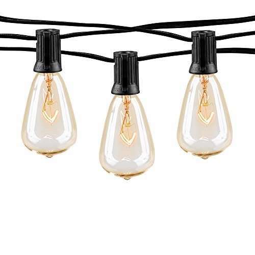 10Ft Outdoor Patio String Lights with 10 Clear ST38 Bulbs, UL Listed C7 Light String for Garden Backyard Deckyard Party Pergola Bistro Porch, Pool Umbrella ect - Black Wire ()