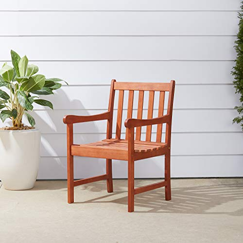 Vifah V415 Outdoor Wood Arm Chair, Natural Wood Finish, 22 by 25 by ()