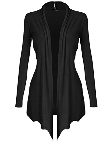 [DRSKIN] Women's Open - Front Long Sleeve Knit Cardigan (2XL, Black)