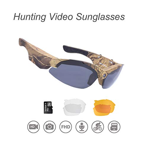 OHO Hunting Camera, 16GB Ultra HD Outdoor Safety Spectacle with Built in 16MP Camera and 3 Sets Against High Mass Impacted and Safety UV400 Protection Lens