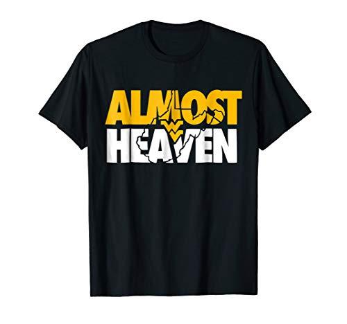 Almost Heaven West Virginia T-Shirt Gift For Men or Women (Heaven West Key Blue)