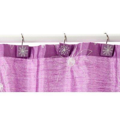 Popular Bath Daisy Stitch Shower Curtain Hooks, Lilac, Set of 12
