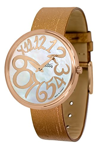 Moog Paris Ronde Art-Deco Women's Watch with White Mother of Pearl Dial, Copper Strap in Jeans - M41671-F41 ()