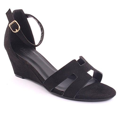 Unze Nuevas mujeres 'Musker' Open Wedge Sandalias Summer Beach School Carnaval Casual Zapatos Reino Unido Tamaño 3-8 Negro