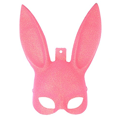 Halloween Sexy Bunny Rabbit Ears Mask Halloween Costume Masquerade Christmas Easter Gift Black Pink (Movable Masks)